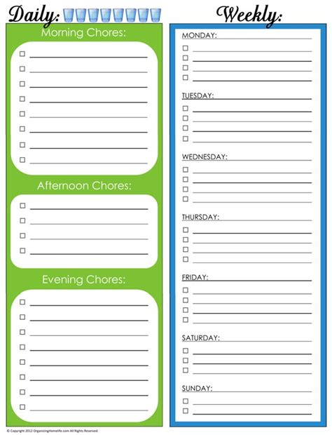 printable home organizing charts 31 days of home management binder printables day 4 daily