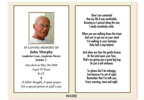 template for a memory card for a funeral in memoriam card