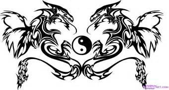 Tribal Dragons And Yin Yang Tattoo Design sketch template