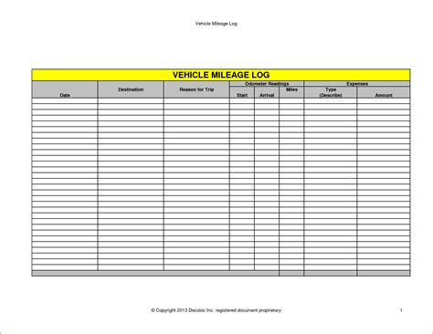 5 vehicle mileage log printable receipt
