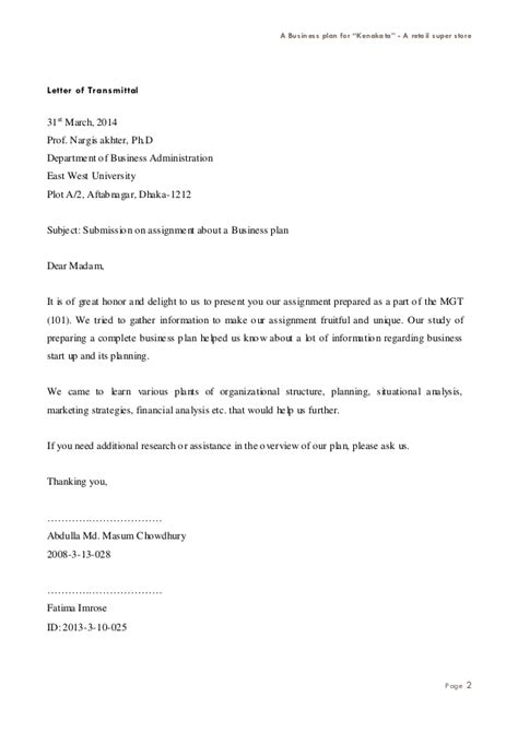 Transmittal Letter Business Plan Business Plan For Retail Shop