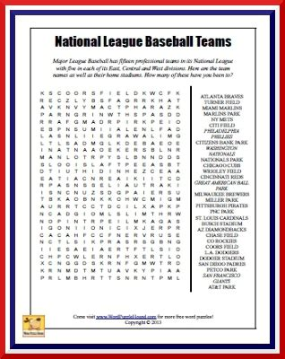 printable word search baseball 5 best images of mlb teams word search printable