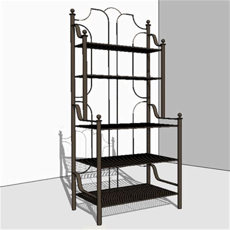 Wrought Iron Bakers Rack by Barcelona Wrought Iron Patio Furniture Bakers Rack 3d