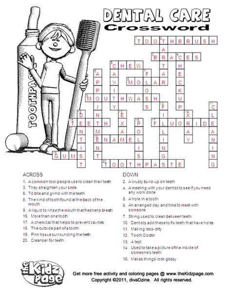printable puzzles for kids dental care crossword answers free printable learning
