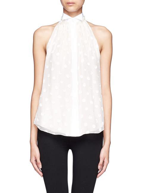 Halter Shirt lyst jason wu polka dot silk blend halter neck shirt in
