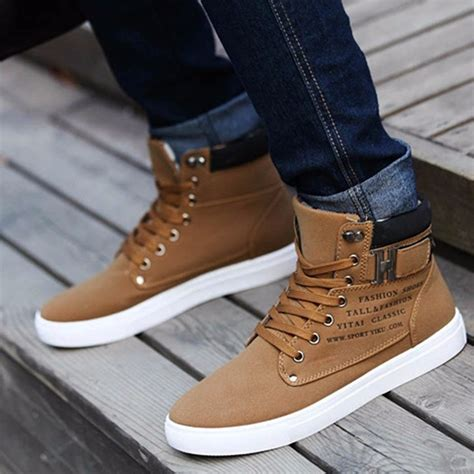 casual mens winter boots fashion s winter warm casual high top loafers shoes