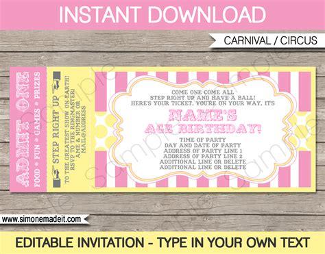 carnival birthday ticket invitation template carnival