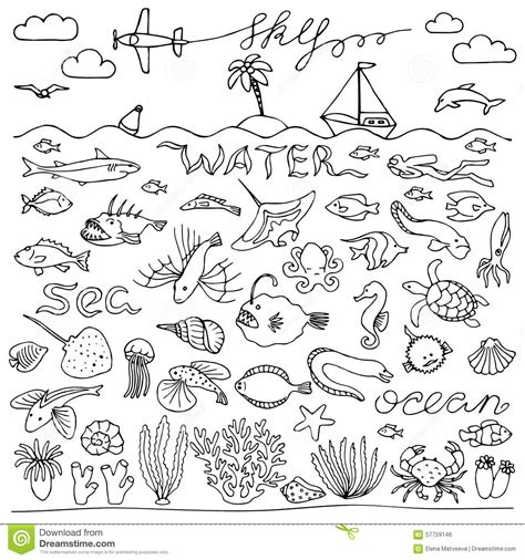 doodle 4 underwater underwater world doodle set stock vector