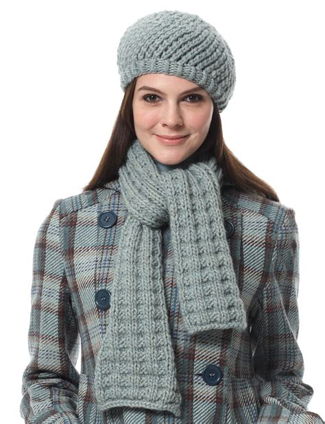 knitting pattern for scarf and hat bernat scarf and hat pattern yarnspirations