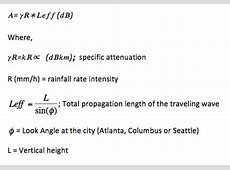 The rainfall rate intensity, and the estimated frequency ... Formula For Atmospheric Absorption