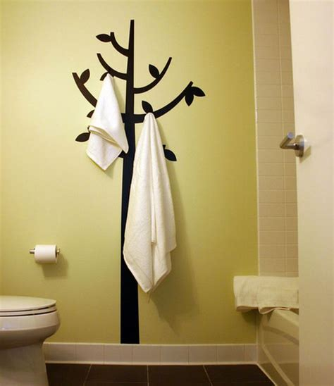 Bathroom Towel Hook Ideas Hook And Decal Combination Up As Engaging Bathroom Wall Decor Decoist