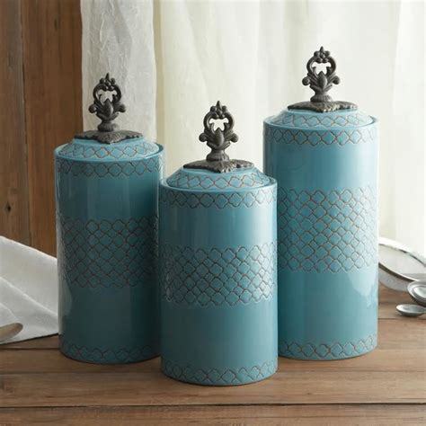 canisters kitchen american atelier blue canister set set of 3 traditional kitchen canisters and jars new