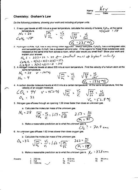 Gas Laws Practice Worksheet by Gas Laws Worksheet 1 Answer Key Gas Practice Problems