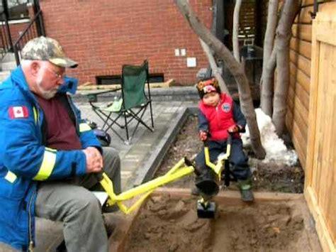 sandbox backhoe digger  grandsons  grandpas joan