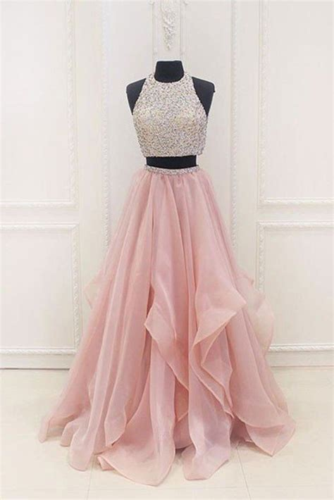 graduation dresses pink chiffon tiered two pieces sequins a line beaded