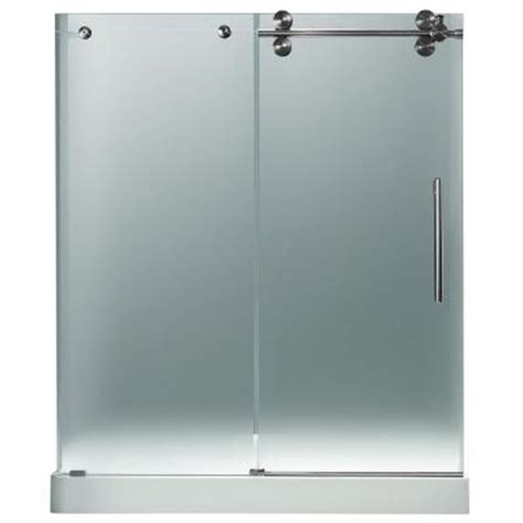 Frameless Frosted Glass Shower Doors Vigo 59 75 In X 74 In Frameless Pivot Shower Door In Stainless Steel And Frosted Glass With
