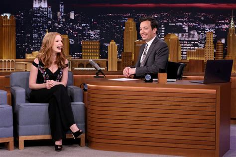 list of the tonight show starring jimmy fallon episodes jessica chastain dresses for the occasion on quot the tonight