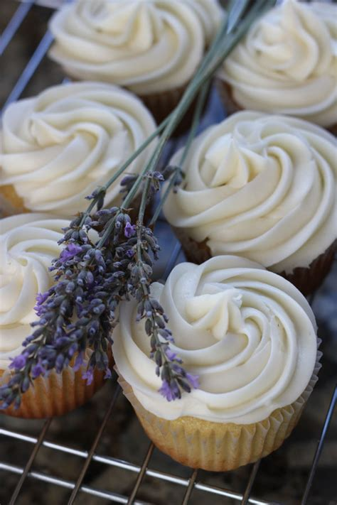 lavender honey cupcakes with honey cream cheese frosting