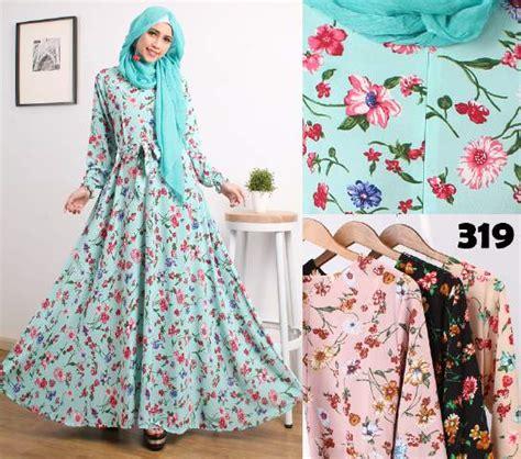 Set Gamis Syar I Motif Bunga Kipas gamis cantik motif bunga 319 crepe baju muslim modern
