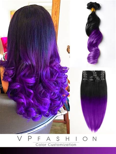 hair extensions purple black to purple mermaid colorful ombre indian remy