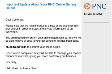 Phishing Alert Message From Pnc Bank Scam Information Technology University Of Pittsburgh Spam Warning Email Template