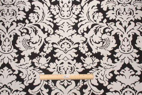 Black Damask Upholstery Fabric by Robert Allen Bhuj Damask Upholstery Fabric In Black White