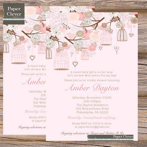 girls baby shower invitations pink shabby chic bird cage