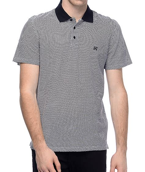 Polo Square Checked Black kr3w wellton black white checkered polo shirt