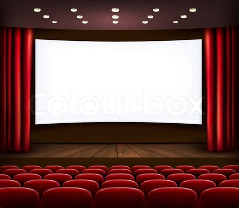 film curtain cinema with white screen curtain and seats vector