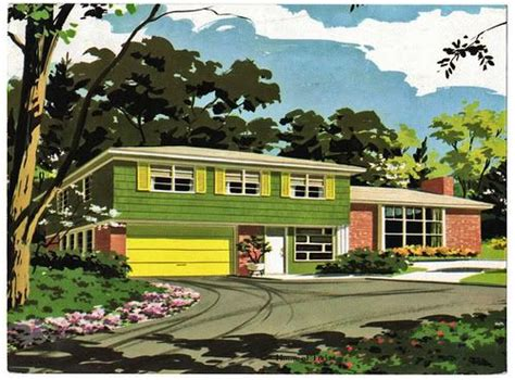 1950s houses 1950s vintage suburban house home retro fallout shelter