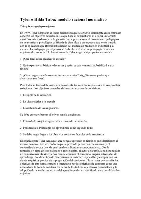 Resumen Modelo Curricular Hilda Taba Educacion Idoneos E Hilda Taba