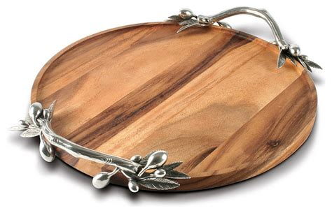 Artisan Kitchen Faucets olive acacia wood round tray large transitional