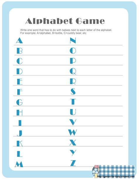 free printable baby shower alphabet game