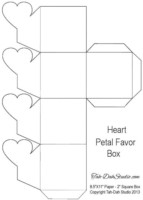 templates for favour boxes petal gift favor box party heart hearts printable by
