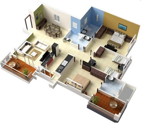 home design 3d 3 bhk single floor 3 bedroom house plans interior design ideas