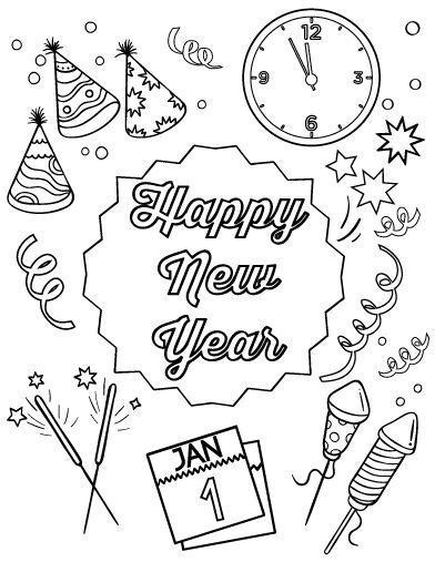 new year coloring pages pdf happy new year new year s and coloring on pinterest