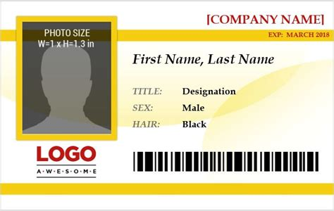 identification card template doc ms word photo id badge templates for all professionals