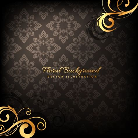 Elegan Premium Black 10013 floral background vector free