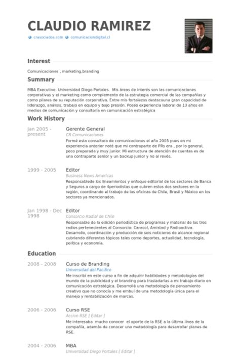 Modelo Cv Directivo Espa A gerente general ejemplo de curr 237 culum base de datos de