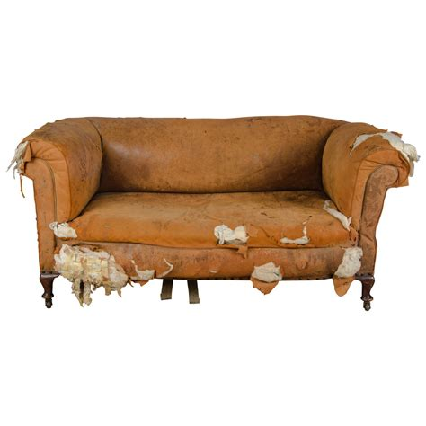 Distressed Leather Sofas Antique Distressed Drop End Leather Sofa At 1stdibs