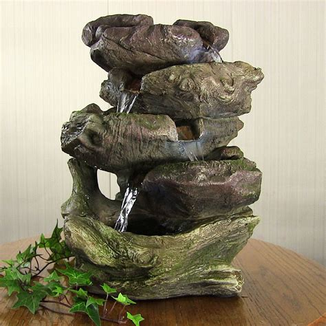 14 quot indoor tabletop electric rock led light water fountain