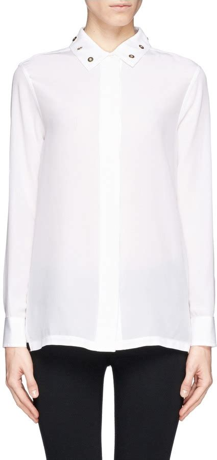Cinday Blouse white embellished silk button blouse sandro riveted silk shirt where to buy how