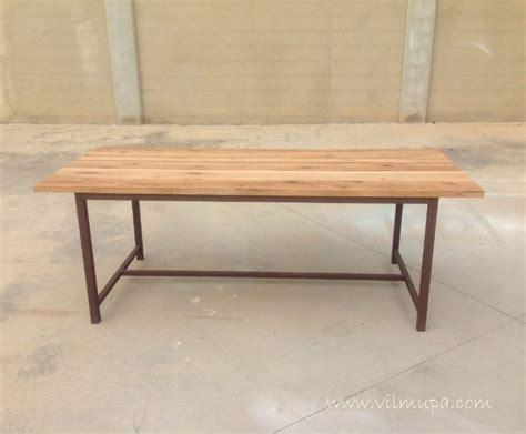 vilmupa mesa de comedor de madera natural  metal