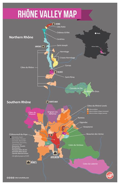 wine map guide to cotes du rhone wine and ch 226 teauneuf du pape