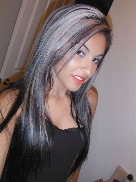 Silver Highlighted Hair Styles | dark hair with silver highlights silver haired beauty