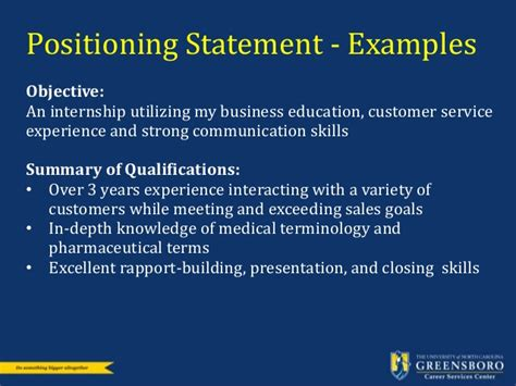 Uncg Personal Statement Nsm Mba by Resume And Cover Letter Workshop Career Services Uncg