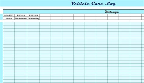 vehicle care log vehicle care log my excel templates