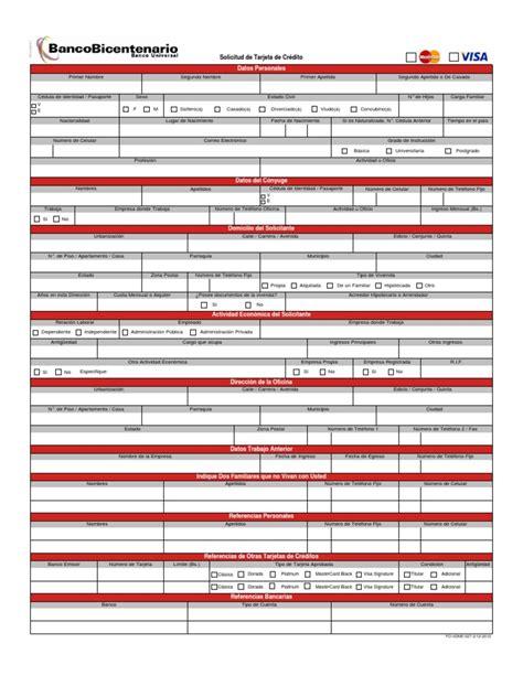 planilla de solicitud credinomina banco bicentenario planilla de solicitud de tarjeta de credito banco
