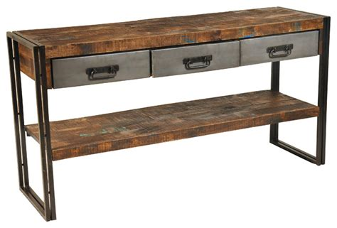 sofa table with drawer 3 drawer reclaimed wood and metal sofa table console