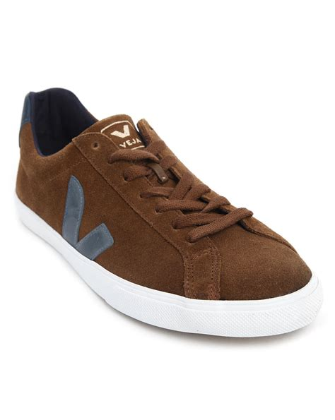 veja shoes veja esplar sneakers in cocoa suede in brown for lyst